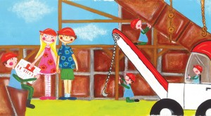 Above is a sample illustration from author Michelle Gilman's book, What Grandma Built.