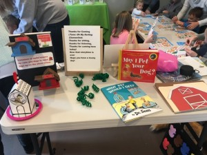 Books, stickers, book marks and coloring pages are featured at the workshops.