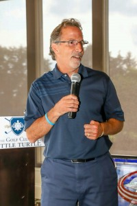 CBJ Coach Torts speaking to group at Play Fore Paws Golf Outing