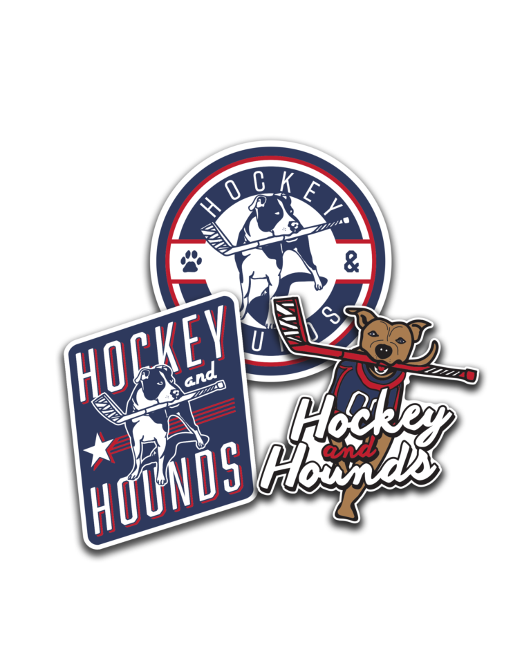 Hockey & Hounds Stickers and Hoodies Available!